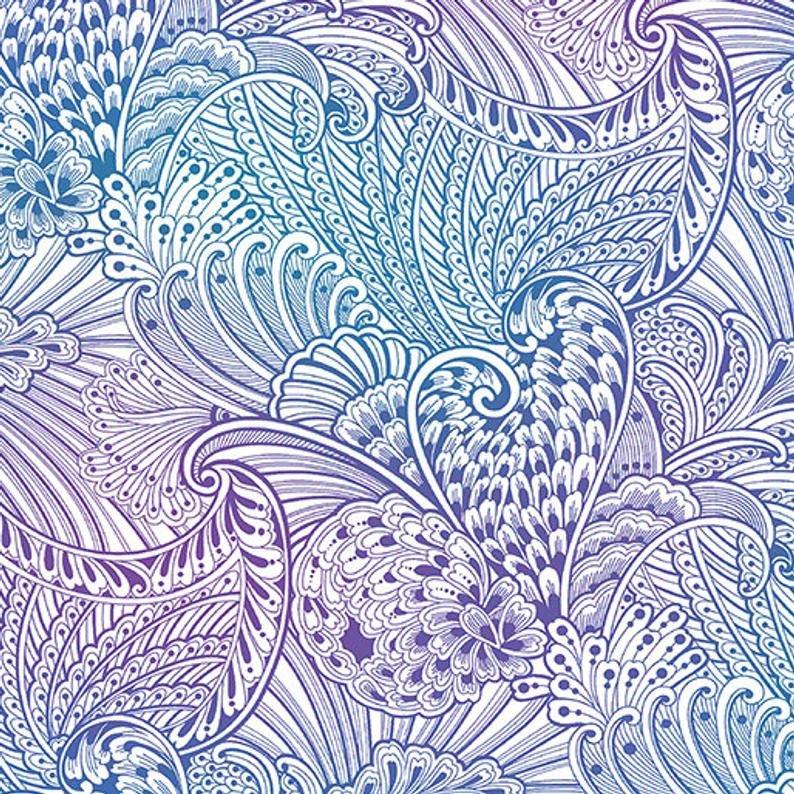 Peacock Flourish Multi on White