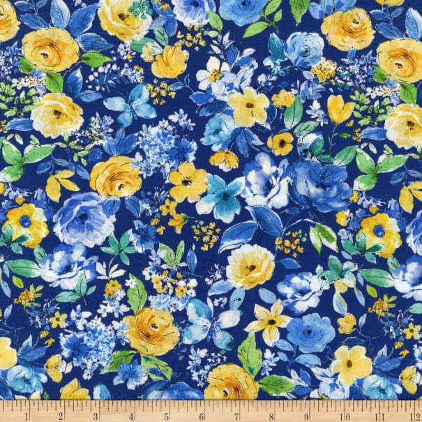 Blue Muse Floral on Navy