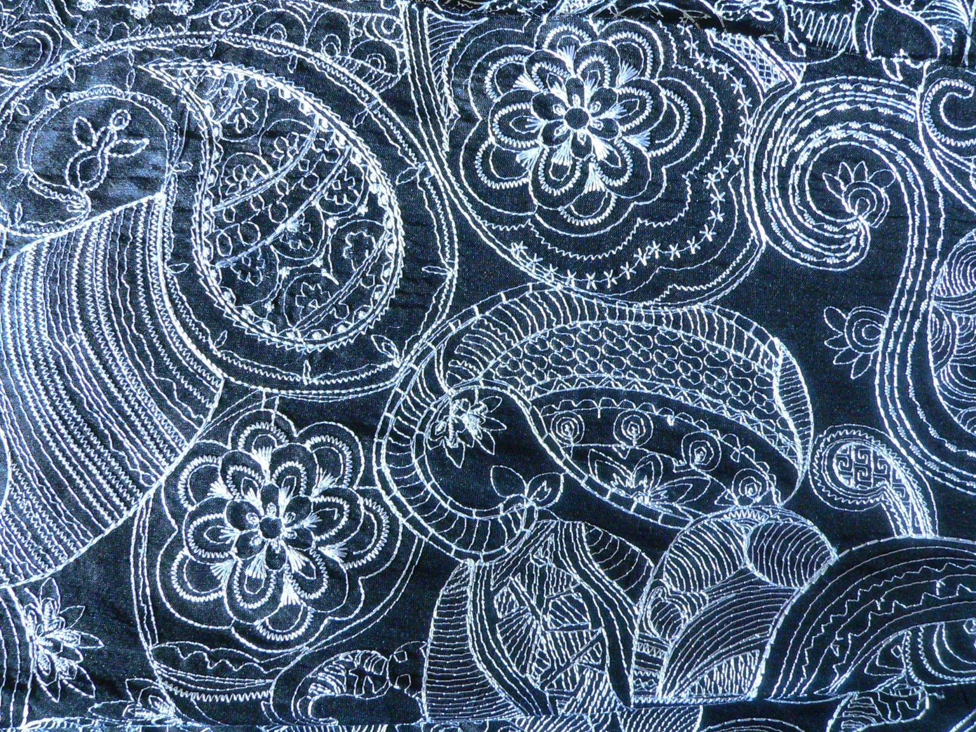 100% silk kirov, embroidered, white on black