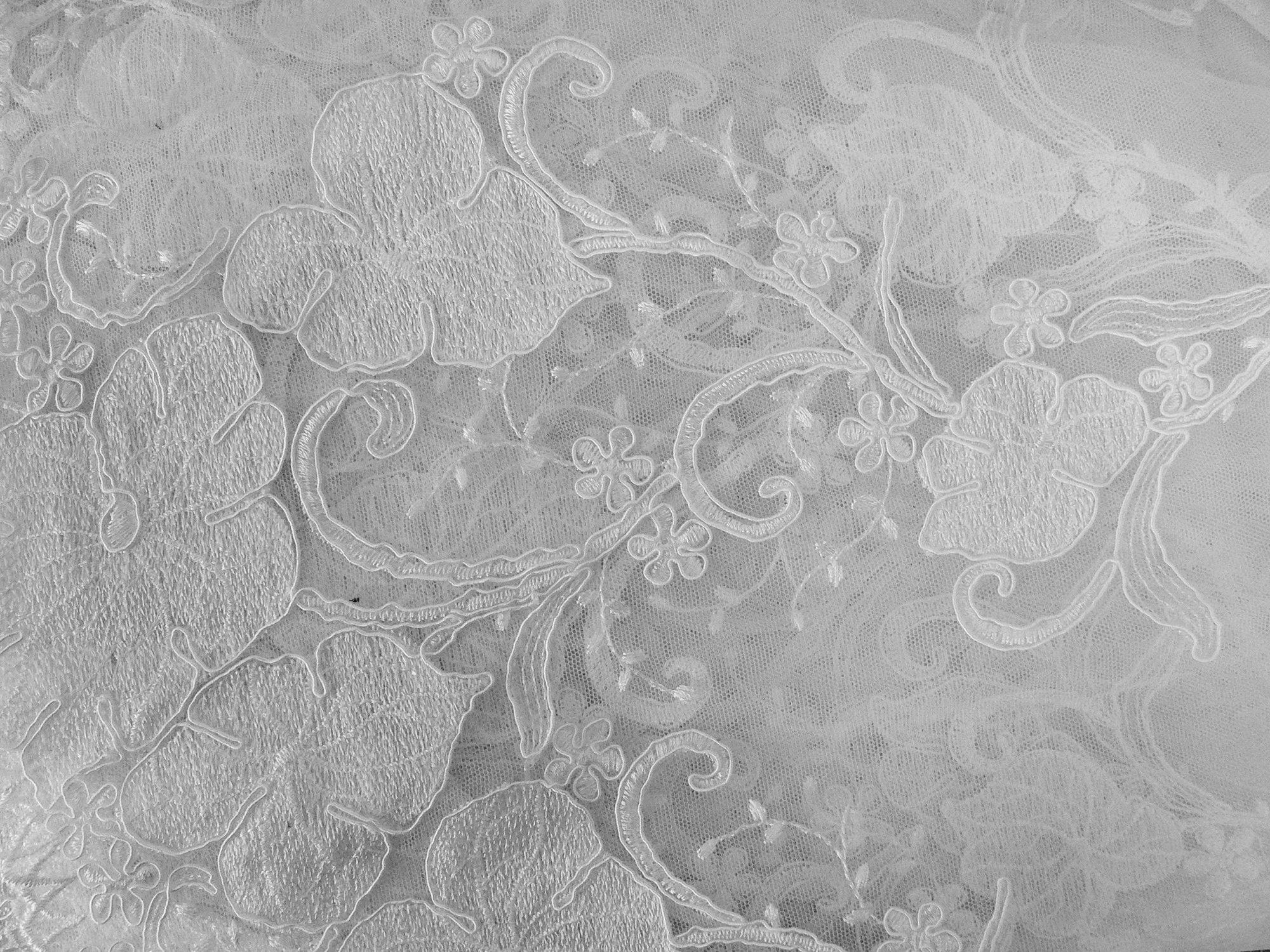 Lace, appliqued, double scallop border, white
