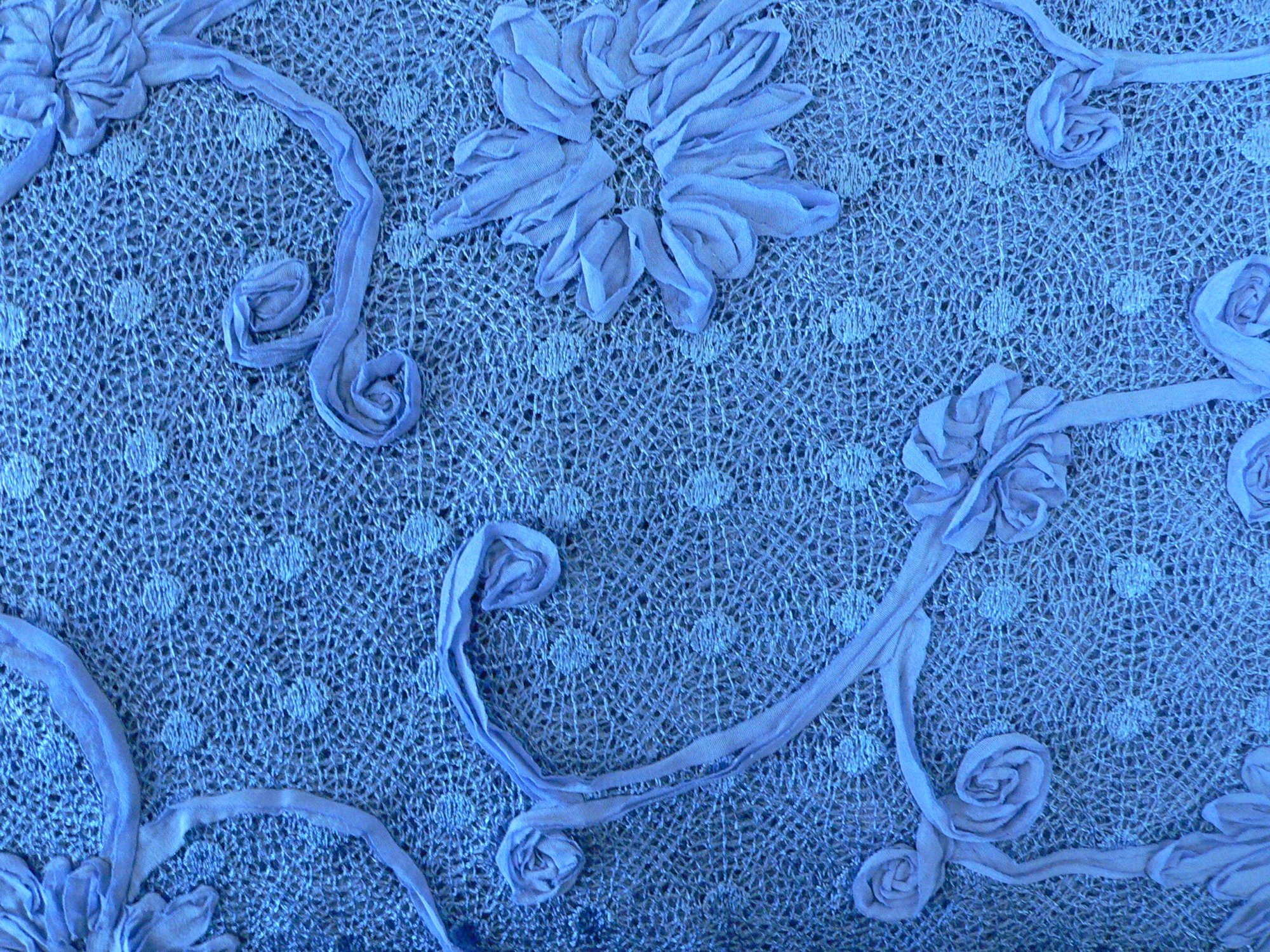 Lace, dimentional applique, periwinkle blue