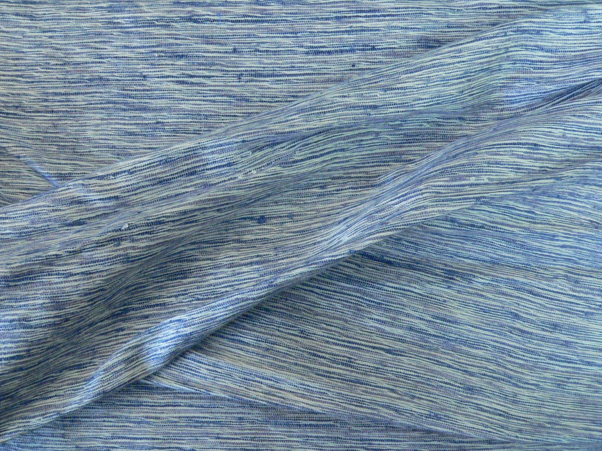 100% raw silk, blue/grey texture