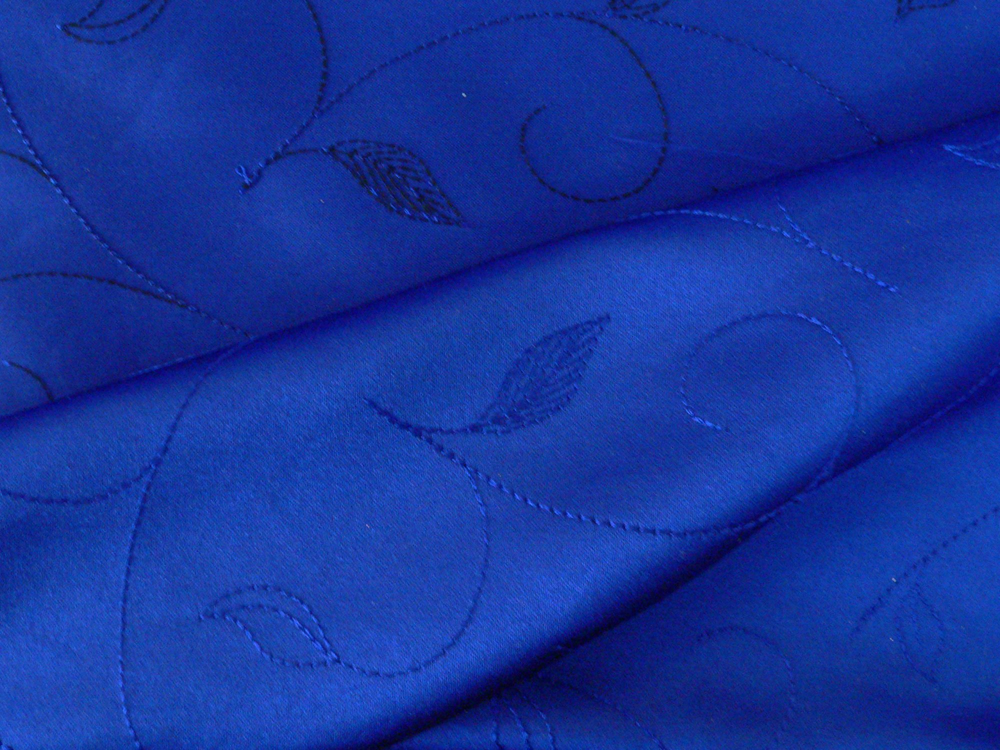 Satin, embroidered, double scalloped edge, royal blue