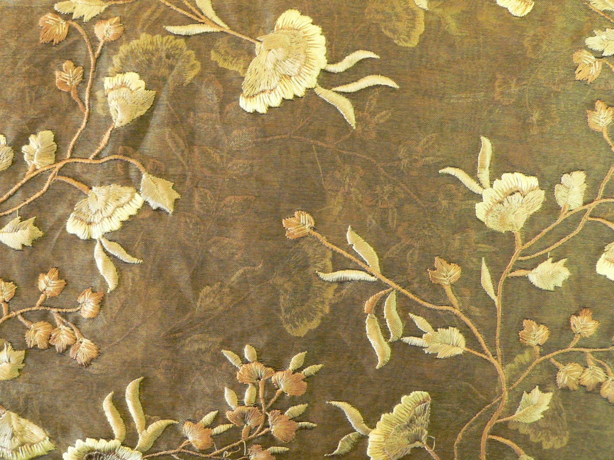 100% silk, embroidered organza, gold