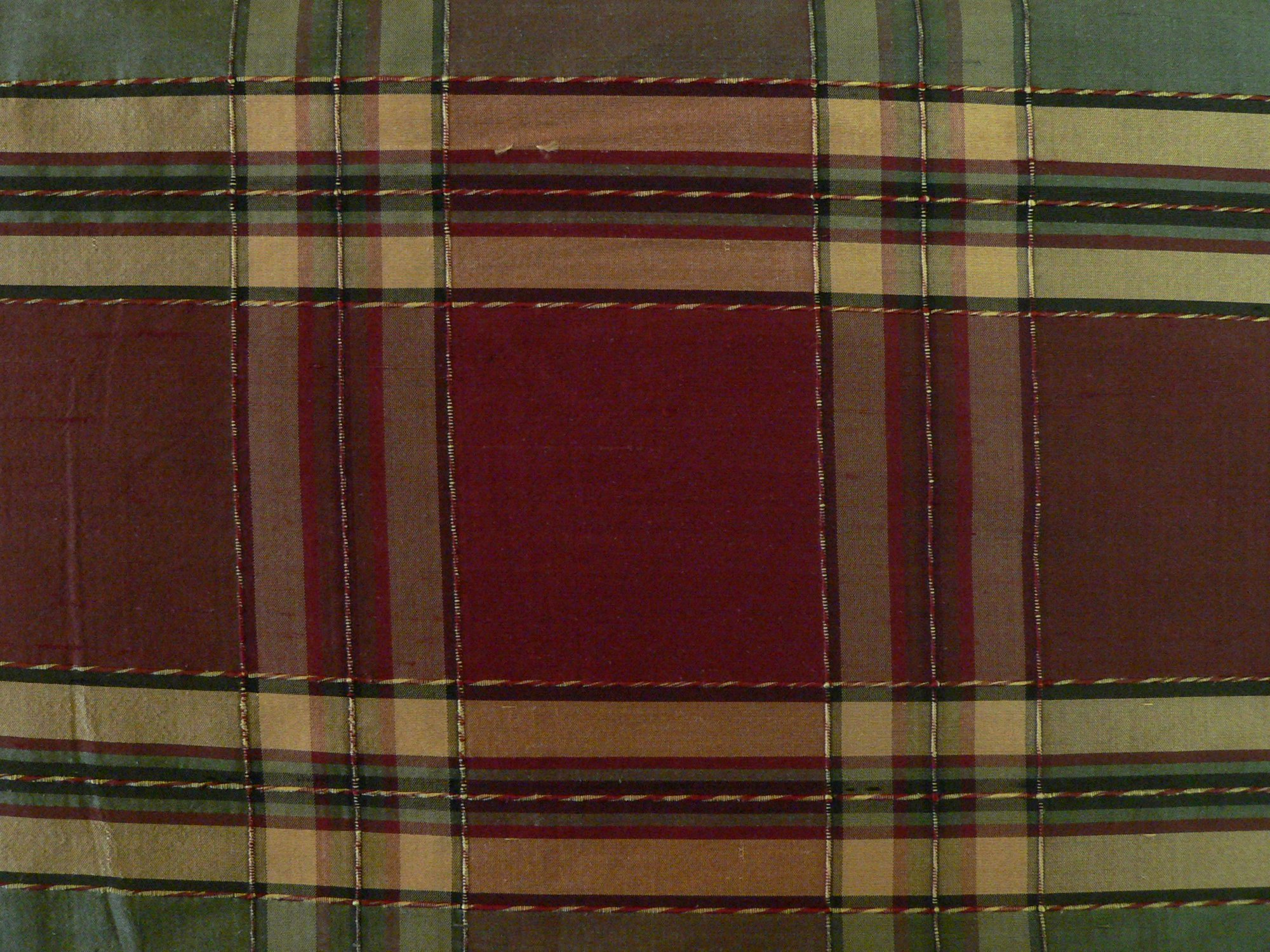 100% silk, textured taffeta plaid, burgundy/green/gold