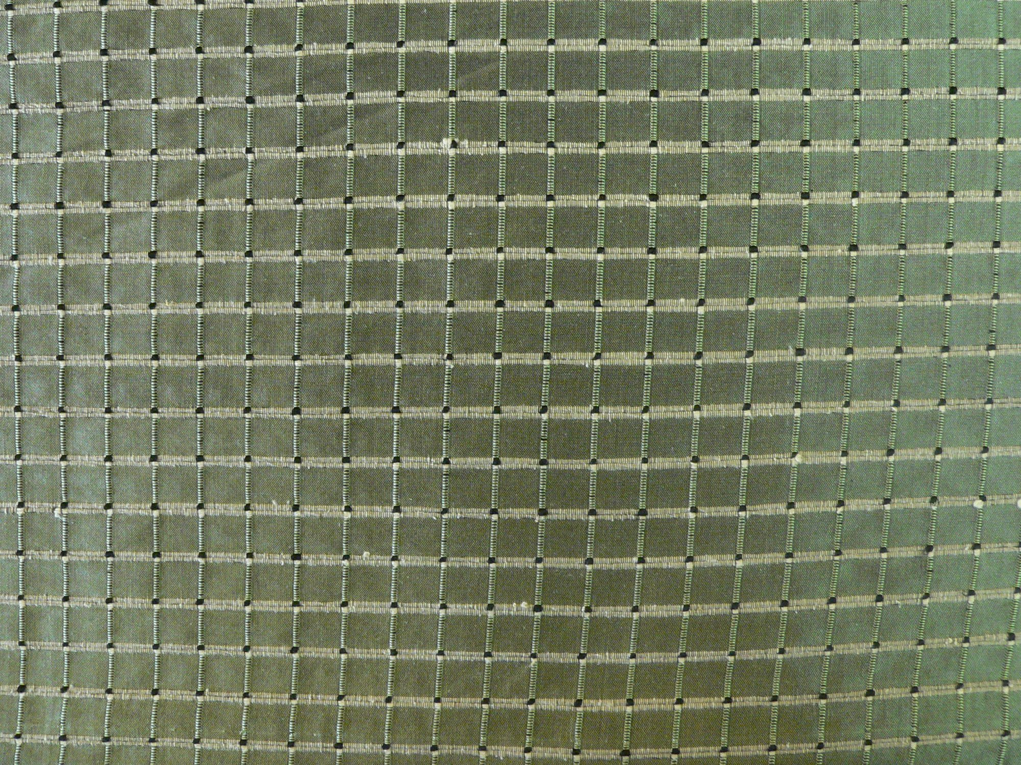 100% silk textured taffeta, olive green/check