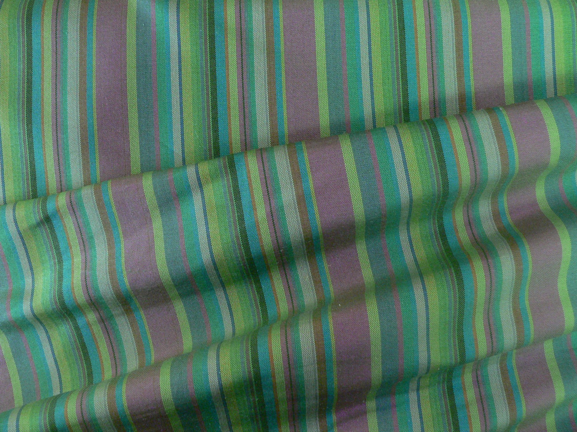 100% silk taffeta, multi striped green/blue/fushia