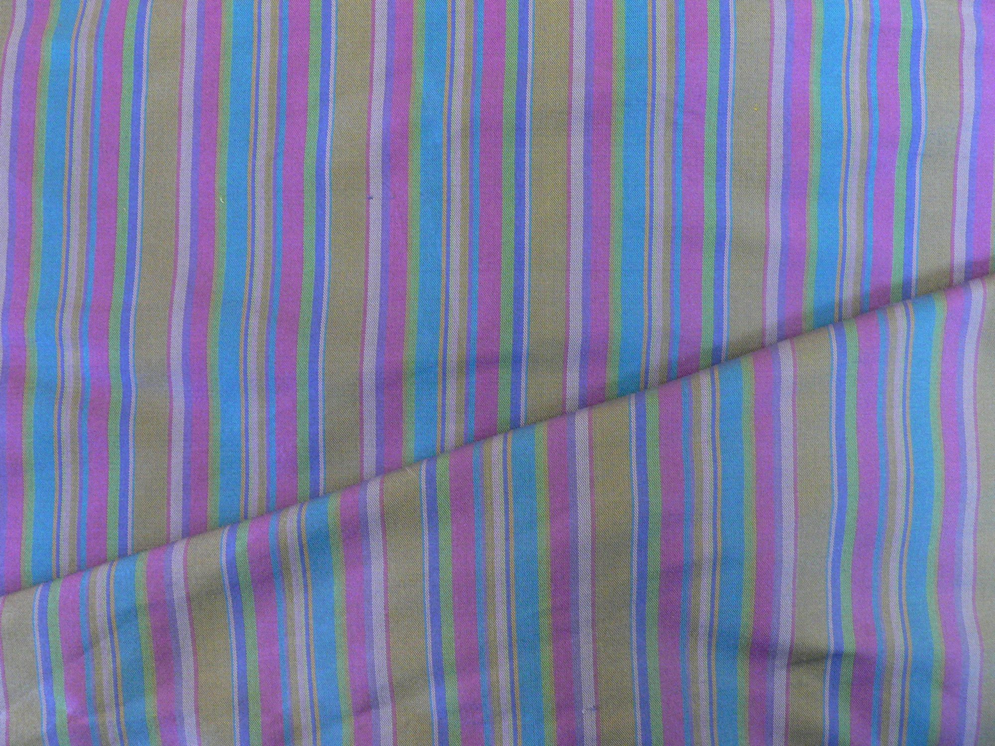 100% silk taffeta, multi striped lilac/turquoise/green