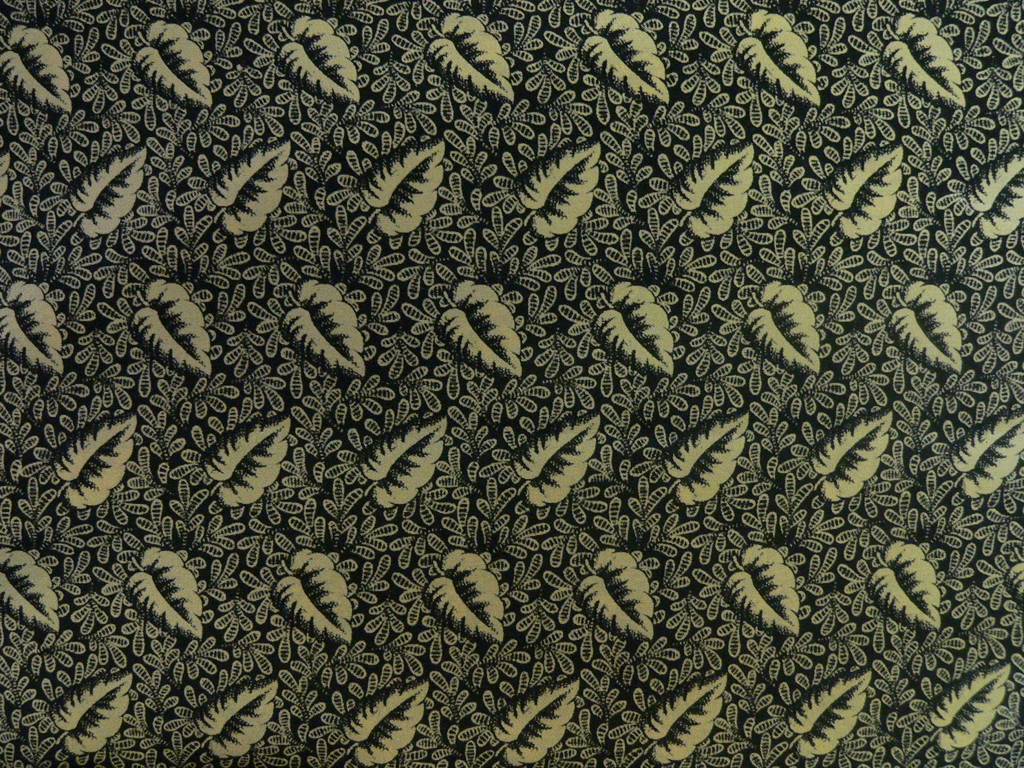 100% silk crepe de chine, printed black/tan