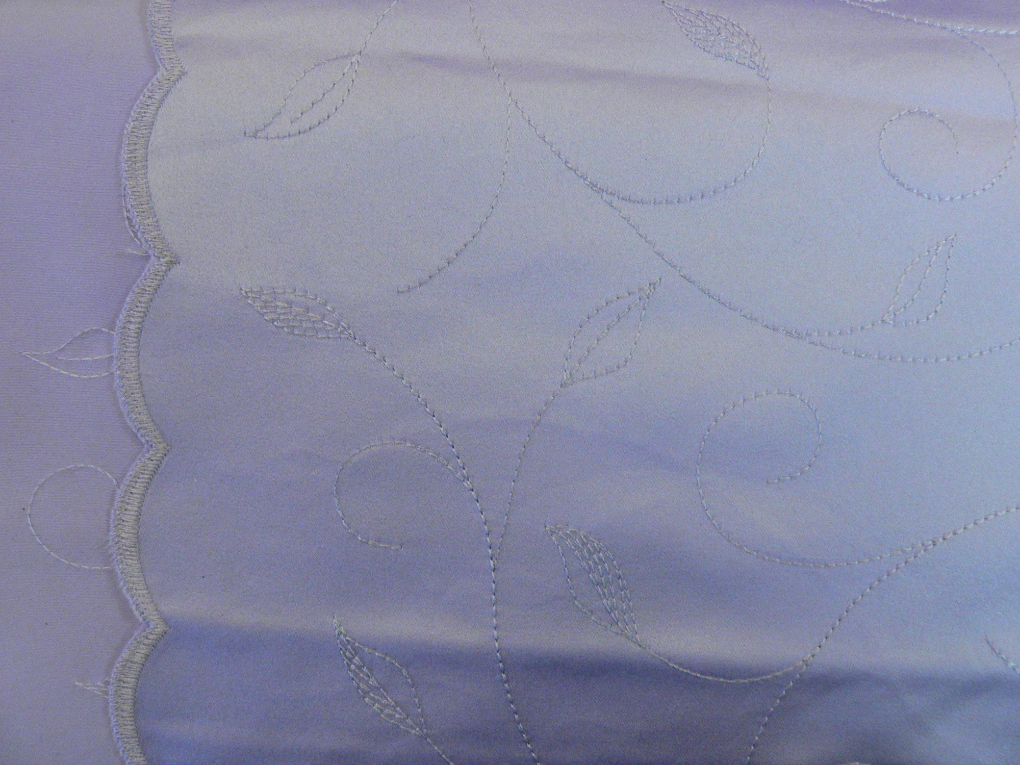 Satin, embroidered, double scalloped edge, lilac