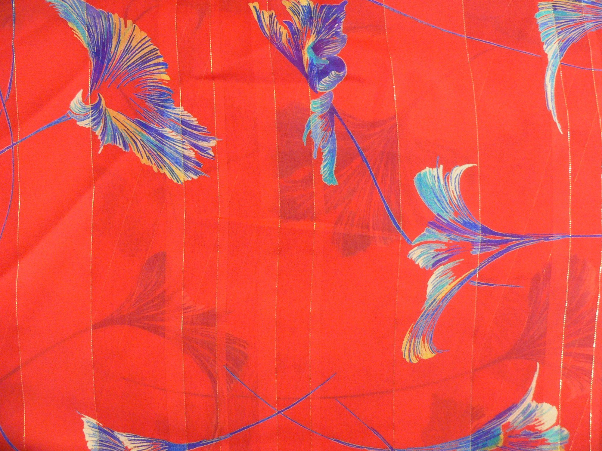 100% silk, ribbon stripe chiffon, red print