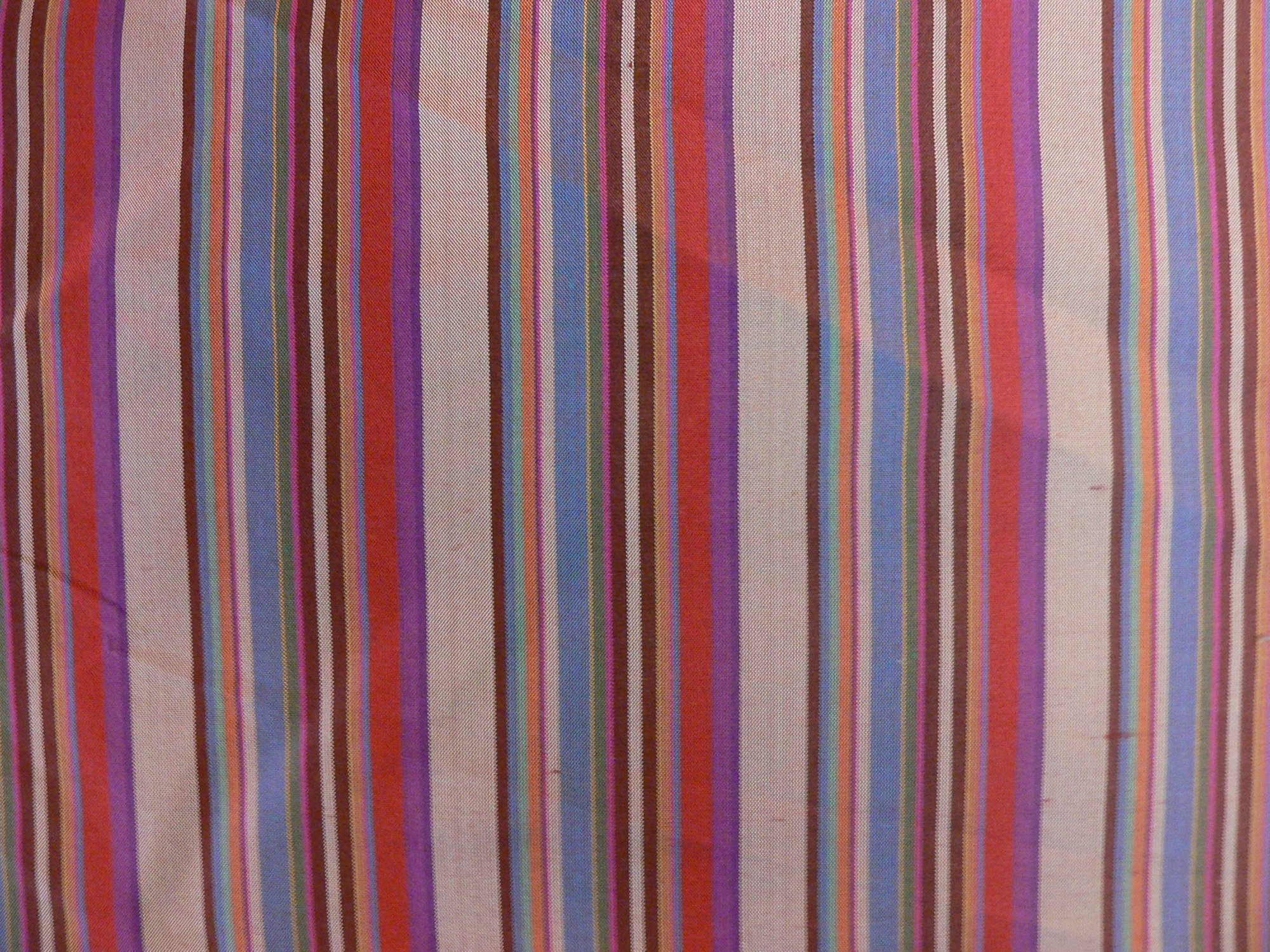 100% silk taffeta, multi striped burgundy/teal/fushia