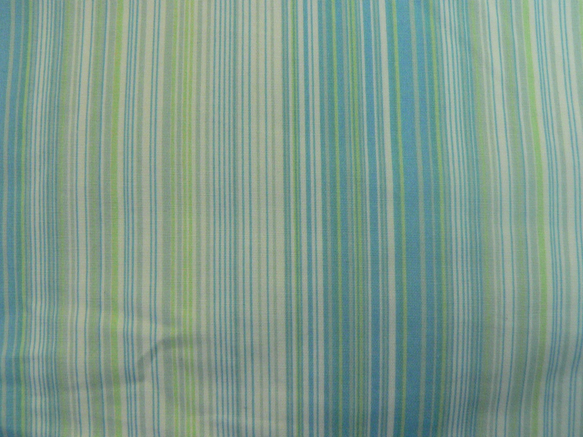 Shirting, white with blue/teal/green fine stripe