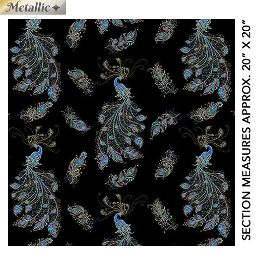 Peacock Flourish Feathers and Peacocks on Black with Gold Metallic