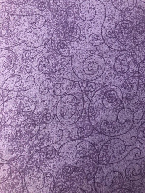 Lavender Scroll Flannel Wide Backing110in
