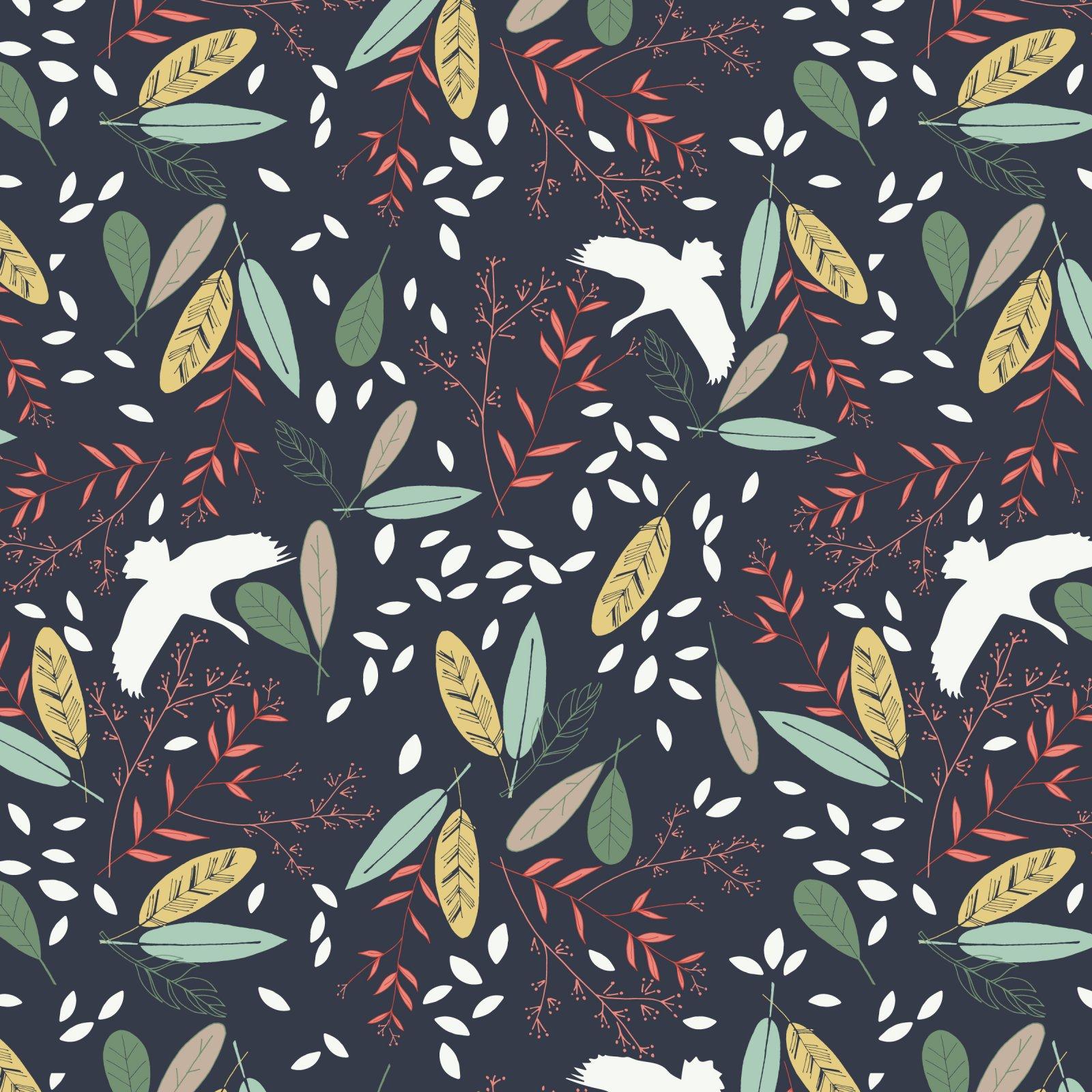 True North Navy Bird and Leaf Print