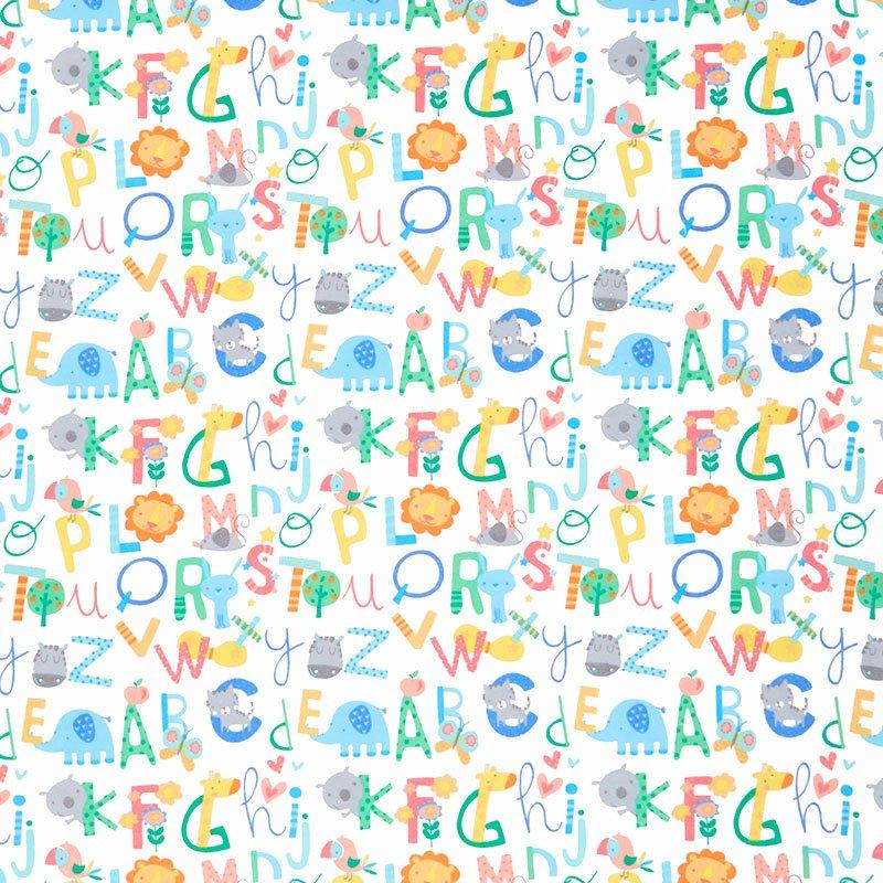 White Alphabet Flannel