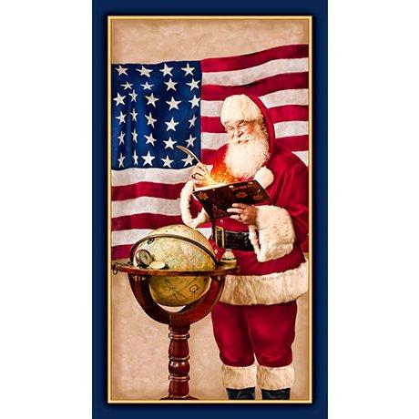 Peace on Earth Patriotic Santa Panel