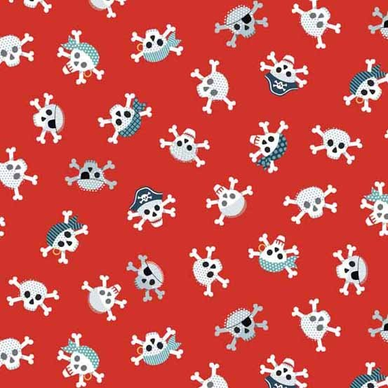 Pirates Skull and Crossbones on Red