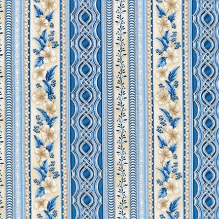 Holiday Flourish 10 Blue Border Stripe
