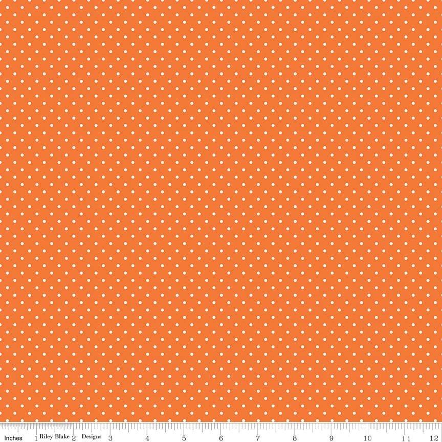 White Swiss Dot On Orange