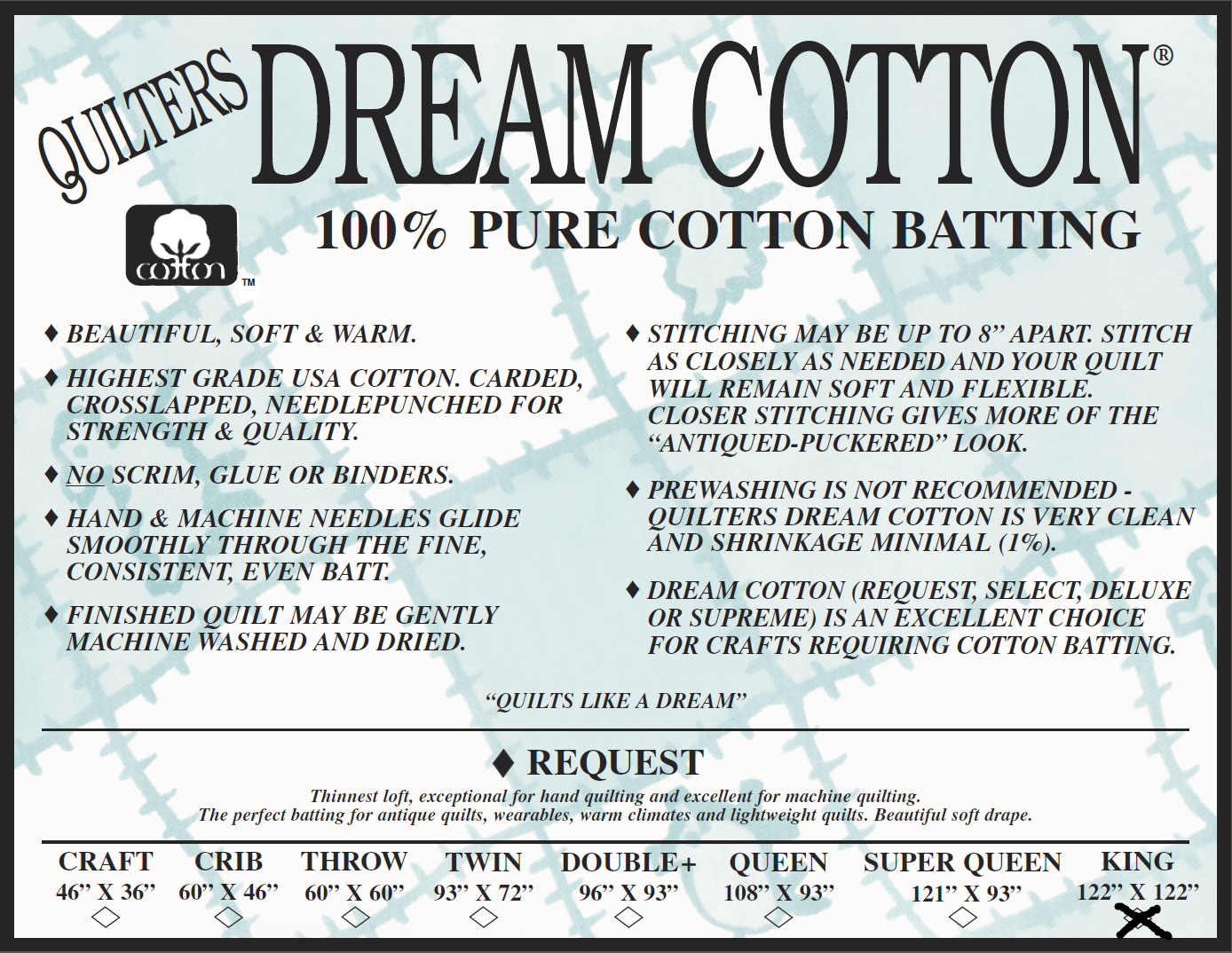 Request King 122x122 Quilters Dream Cotton