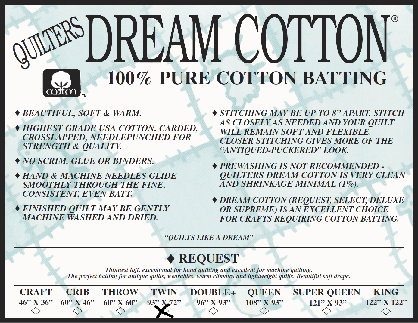 Request Twin 93 x 72 Quilters Dream Cotton