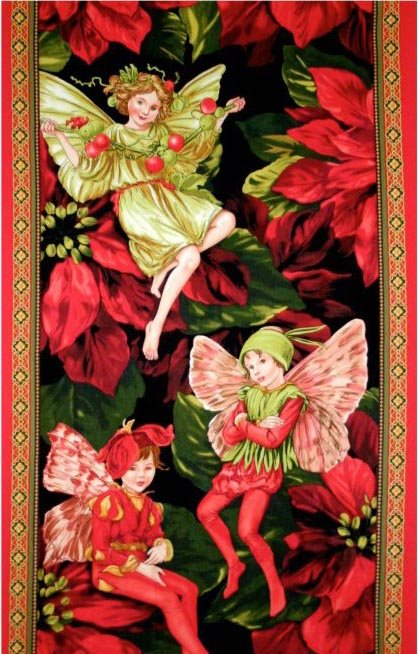Holiday Fairies Panel Red