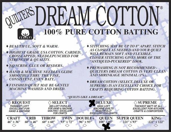 Deluxe Super  Queen 121 x 93 Quilters Dream Cotton