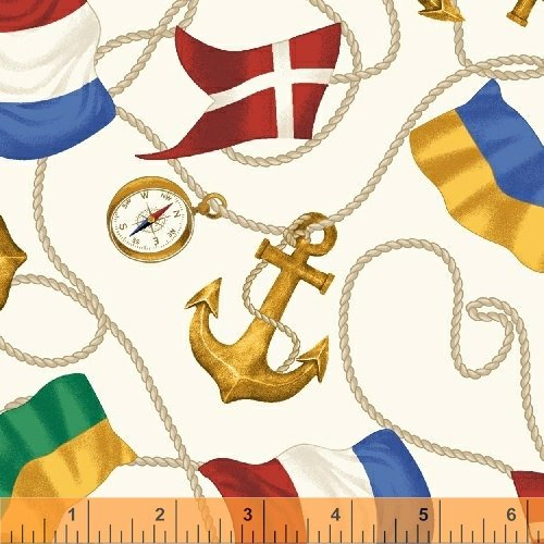 Sail Away - Flags and Anchors on White