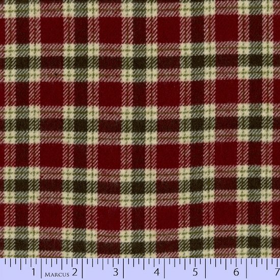 Plaid Flannel Small Red and Green on Beige