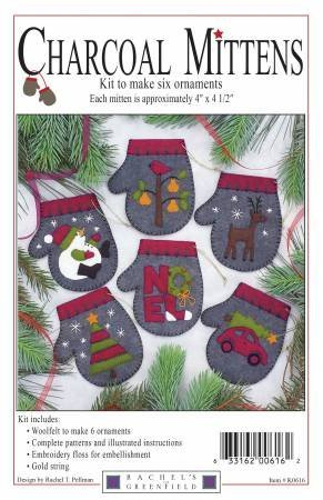 Charcoal Mittens wool ornaments