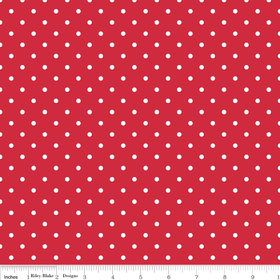 Swiss Dots White on Red