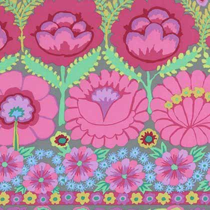 Embroided Flower Border - Pink