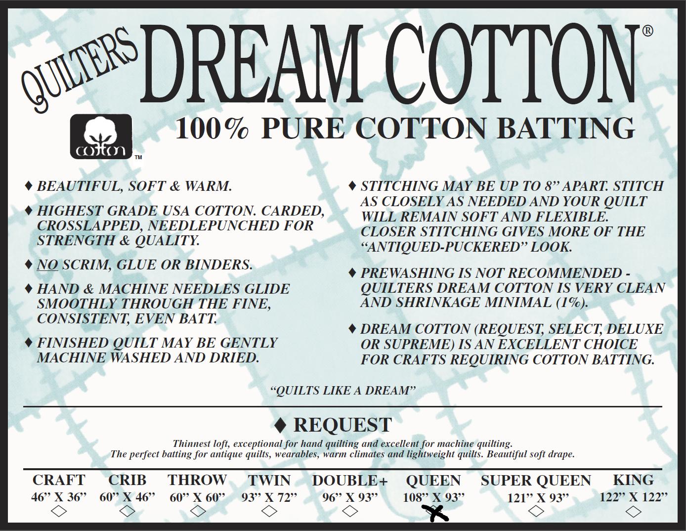 Request Queen 108 x93 Quilter's Dream Cotton
