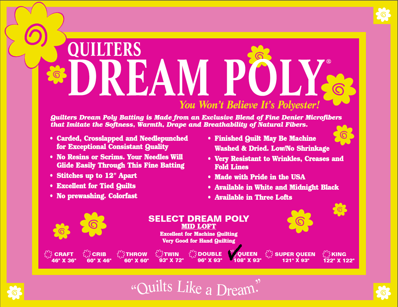 Quilters Dream Poly Select Queen 108 x 93