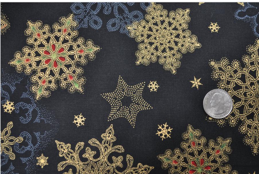 * Holiday Flourish 10 snowflakes on black