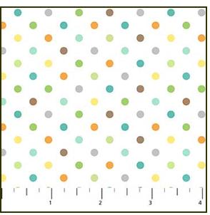 Jungle Friends, multi dots on white