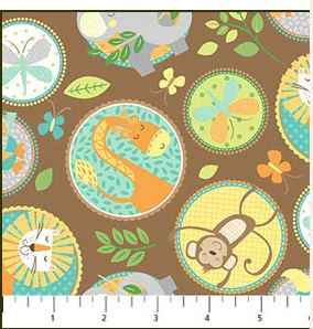 Jungle Friends, animal buttons on brown