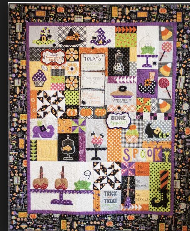 Broomhilda's Bakery quilt kit, black border