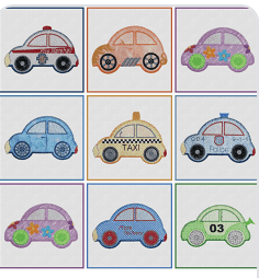 Cute Car machine embroidery applique CD