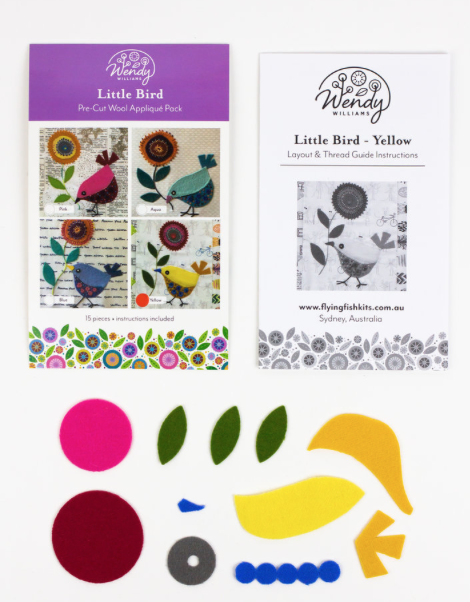 Little Bird, Yellow, Wendy Williams pre-cut wool appliqu? pack