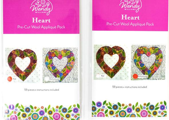 Heart, Multicolored, Wendy Williams pre-cut wool appliqu? pack