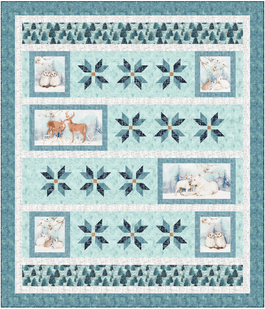 White Forest quilt kit, 74x 86
