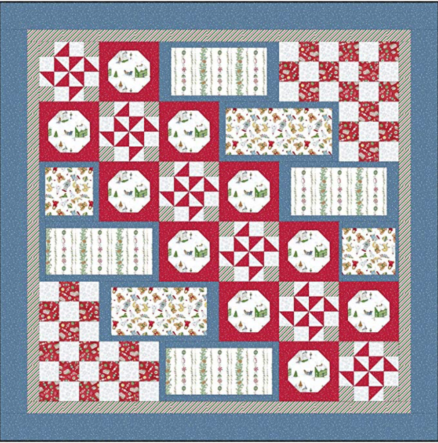 Santa's Stocking Fillers, quilt kit 74 x74 finished