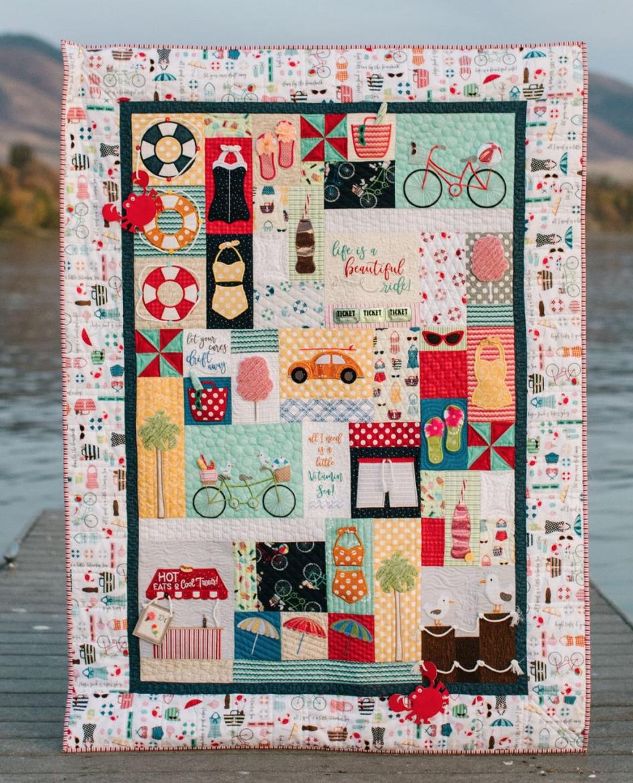 Vintage Boardwalk Quilt Kit, fabric and embellishments
