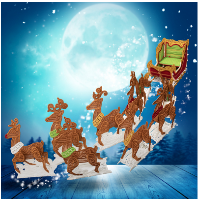 OESD Freestanding Sleigh and Reindeer, USB