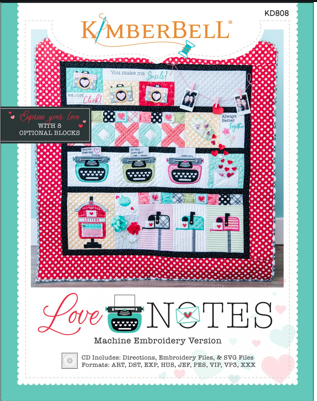 Love Notes quilt kit, machine embroidery version
