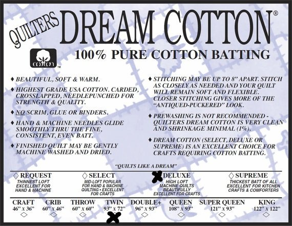 Deluxe Twin 93 x 72 Quilters Dream Cotton