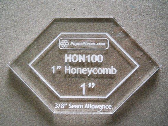 1 Honeycomb Acrylic Fabric Cutting Template 3/8 allowance
